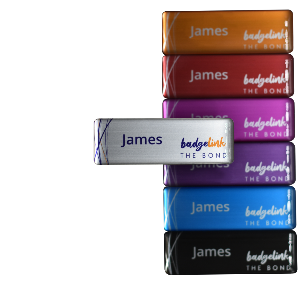 Bond Resin Domed Name Badges with multiple colours