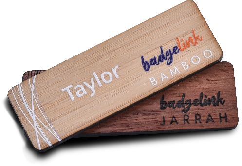 the wood range of name badges