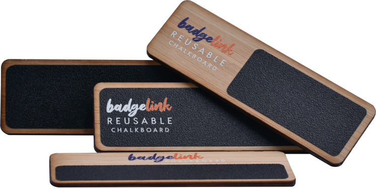 reusable bamboo chalkboard name badges