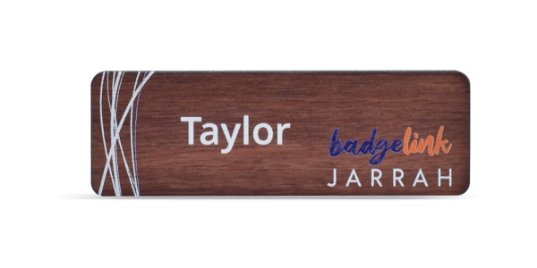 Jarrah Name Badge Printed