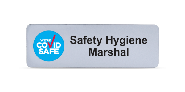 Safety Hygiene Marshal Badge - Smooth Silver